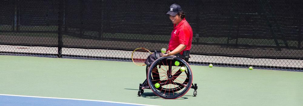 Tennis player in a wheelchair