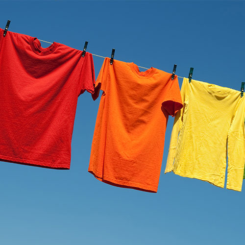 Tshirts hanging on a clothes line