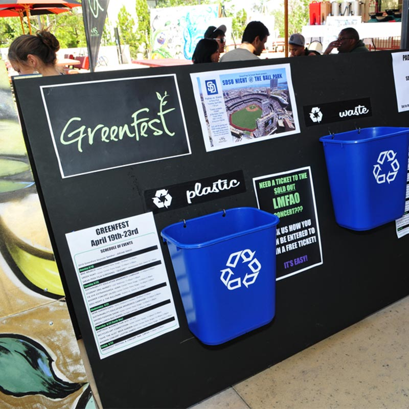 Display of recycle bins