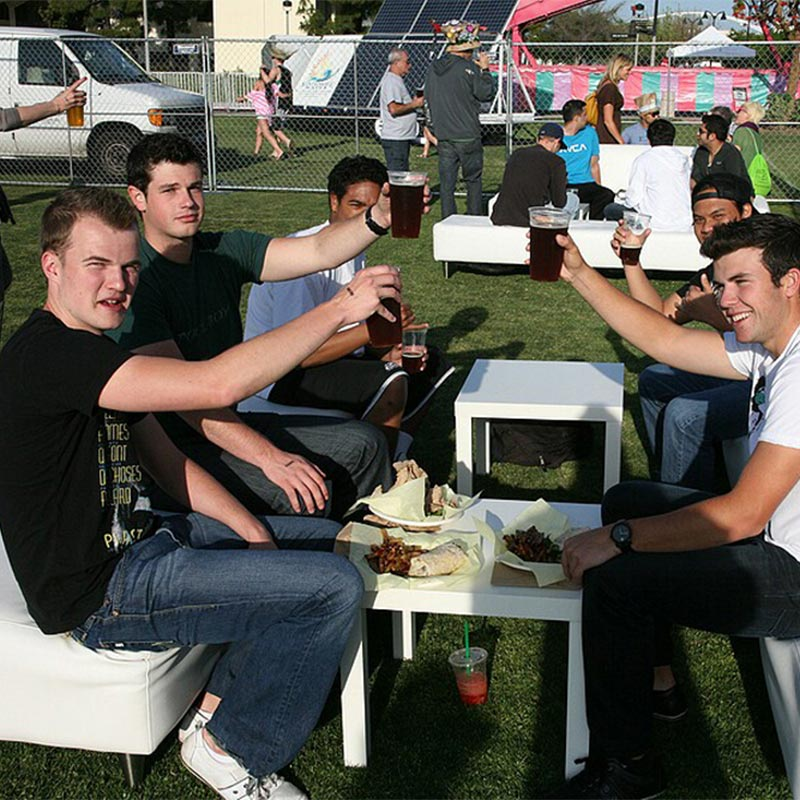 Students drinking beer