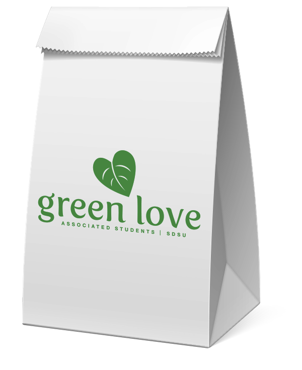 Paper lunch bag with greenlove logo