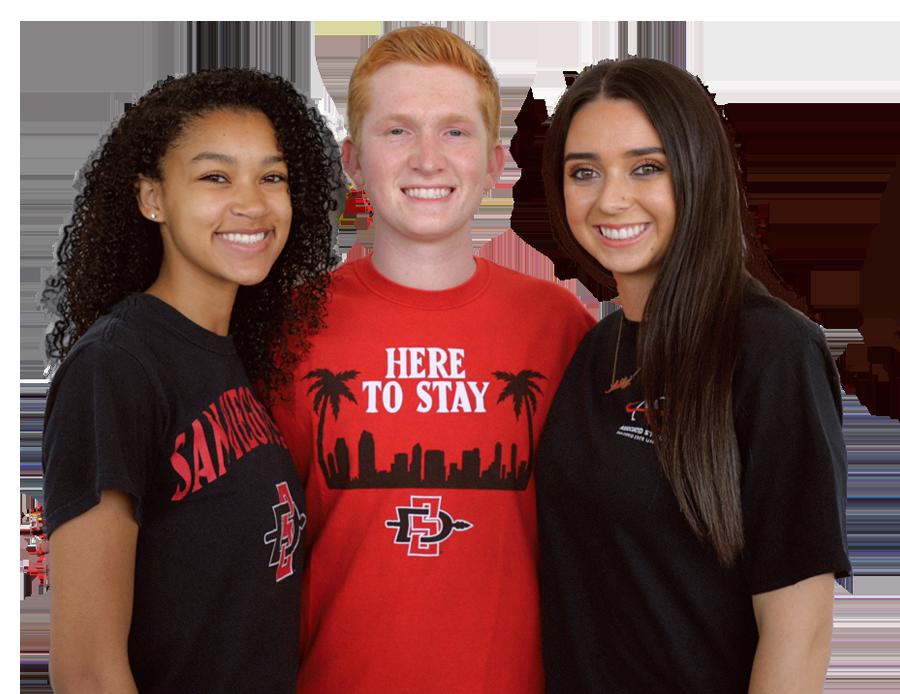 Three SDSU students wearing SDSU/A.S. shirts smiling