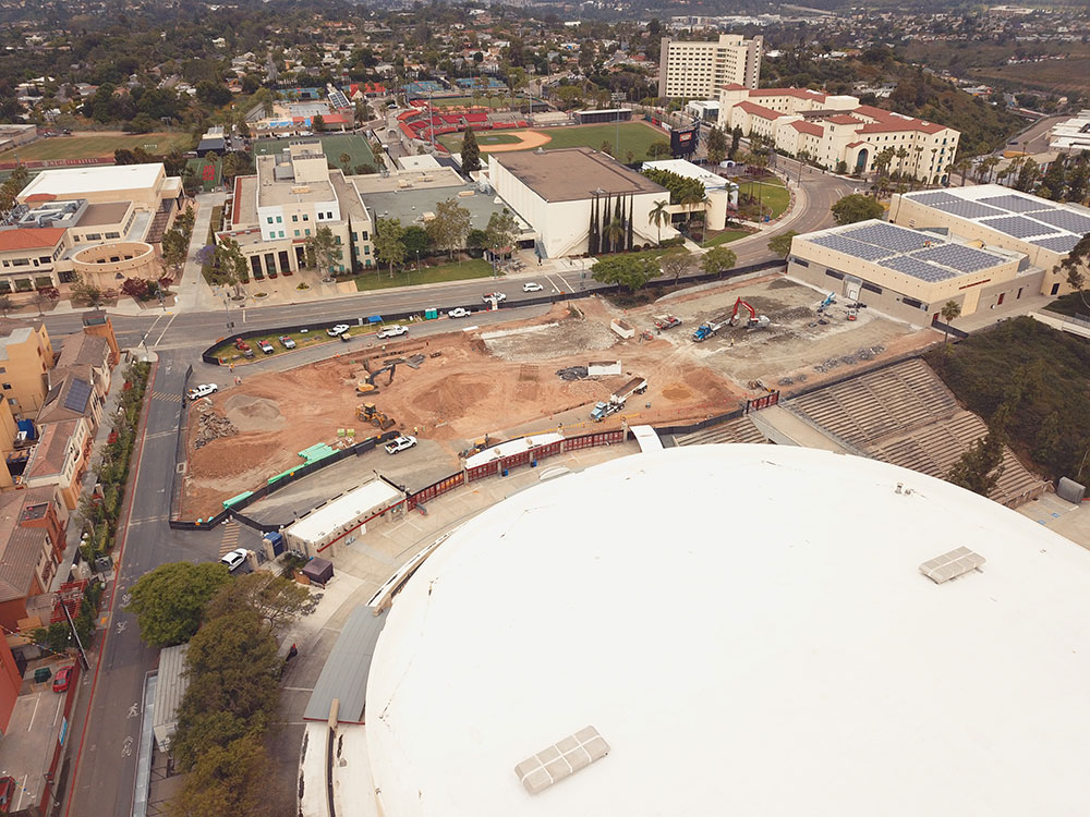 Aerial photo of construction at the ARC