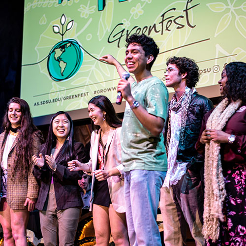 Group of Students on stage at a GreenFest Event
